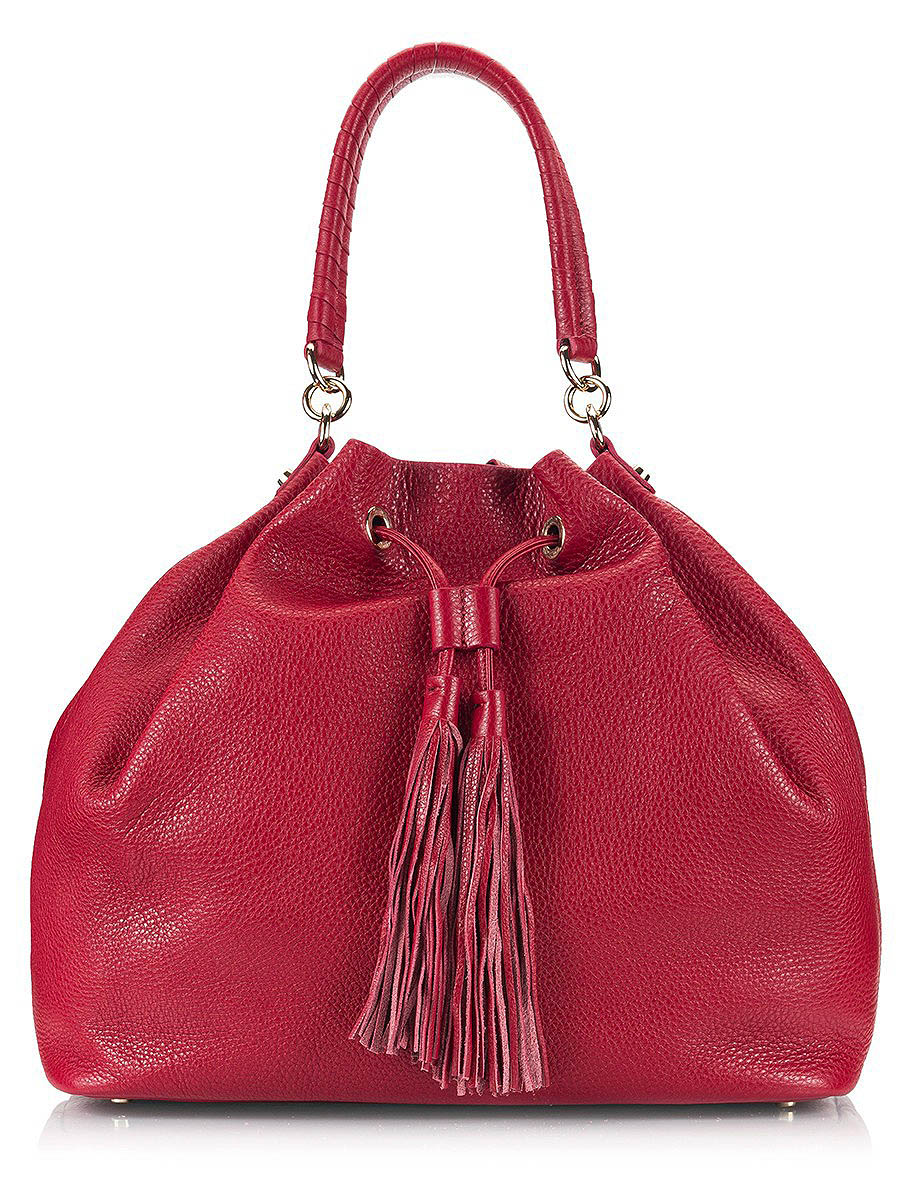 coccinelle-burgundy-leather-tasseled-bucket-bag
