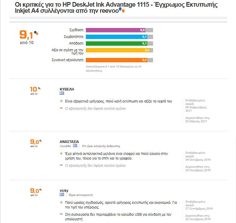 hp deskjet advantage 1115 - reviews kritikes ektypwti hotdealsgr