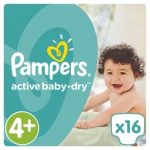 PAMPERS - ΠΑΝΕΣ ACTIVE BABY DRY NΟΥΜΕΡΟ 4+ (9-16 KG) 16 ΤΕΜ