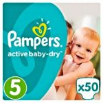 PAMPERS - ΠΑΝΕΣ ACTIVE BABY DRY NΟΥΜΕΡΟ 5 (11-18KG) 50 TEM