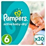 PAMPERS ACTIVE BABY DRY - ΠΑΝΕΣ ACTIVE BABY DRY ΠΑΝΕΣ ΝΟΥΜΕΡΟ 6 (15+ΚG) 30 ΤΕΜ