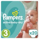 PAMPERS ACTIVE BABY DRY - ΠΑΝΕΣ ACTIVE BABY DRY NΟΥΜΕΡΟ 3 (5-9 KG) 20 ΤΕΜ