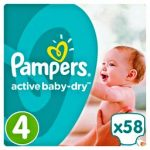 PAMPERS ACTIVE BABY DRY - ΠΑΝΕΣ ACTIVE BABY DRY NΟΥΜΕΡΟ 4 (8-14 KG) 58 ΤΕΜ