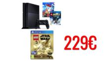 Sony PlayStation 4 500GB | + Lego Batman 3: Beyond Gotham + The Lego Movie [Blu-ray + UV Copy] + Lego Star Wars the Force Awakens Deluxe Edition | amazoncouk | 229€